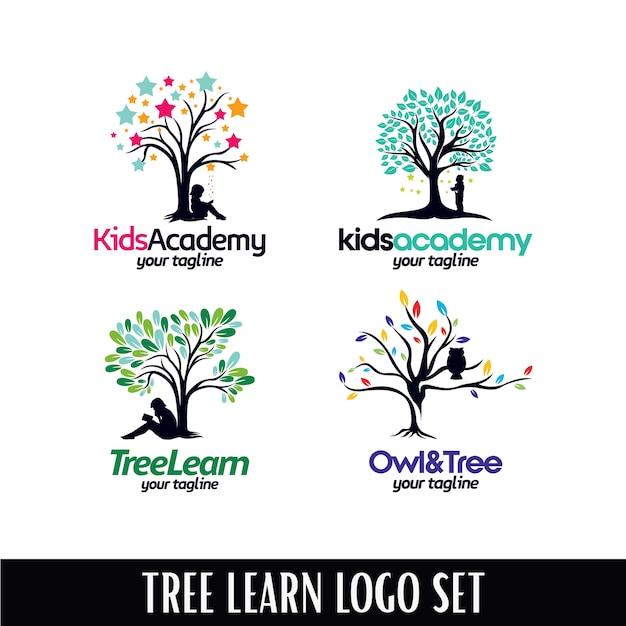 Ensemble de modèles de logo tree academy designs Vecteur Premium