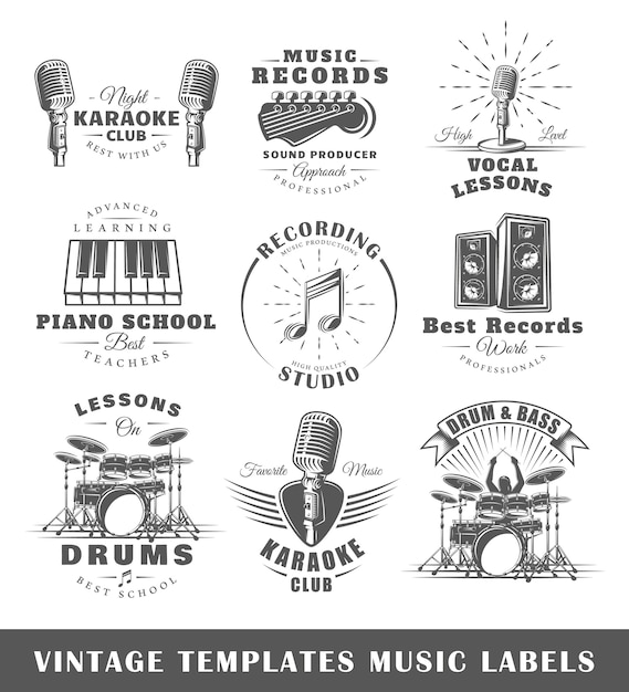 Ensemble De Modèles De Logos Musicaux Vintage Vecteur Premium