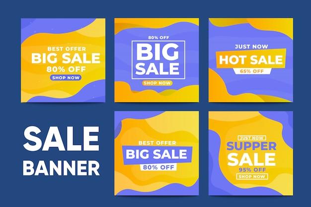 Ensemble de modèles de médias sociaux bannière vente Vecteur Premium