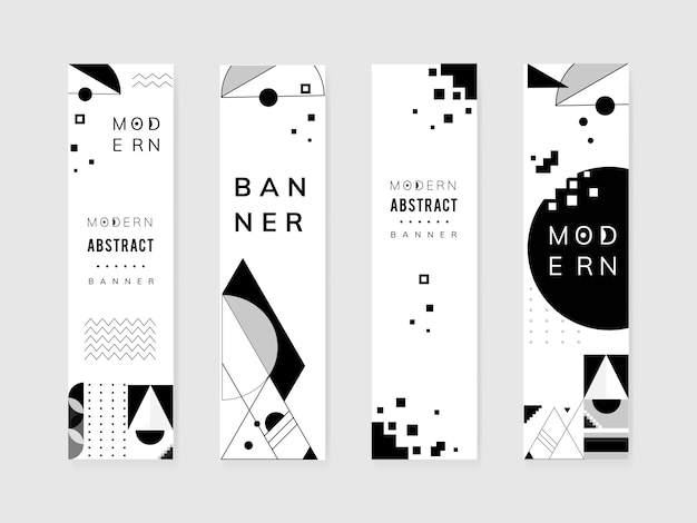 Ensemble de modèles noir et blanc moderne abstrait Vecteur gratuit