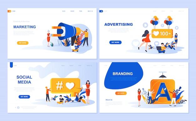 Ensemble de modèles de pages de destination pour le marketing numérique, la publicité, les médias sociaux et l'image de marque Vecteur Premium