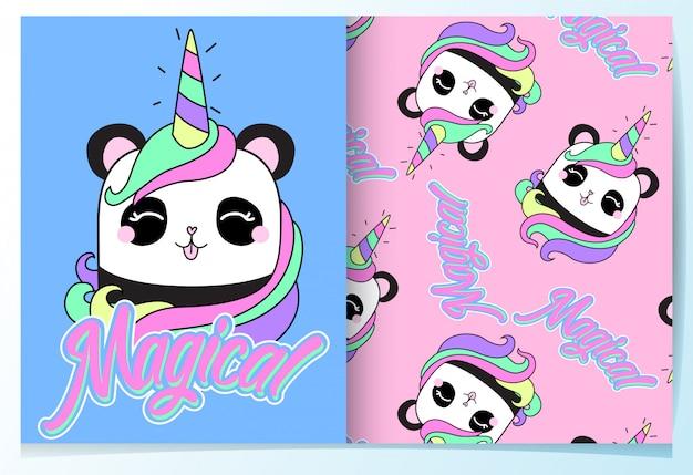 Ensemble de modèles de panda mignon dessinés à la main Vecteur Premium