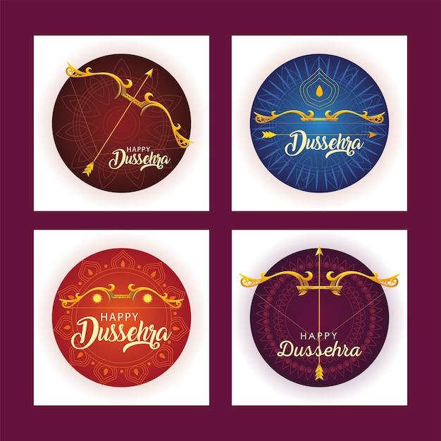 Ensemble De Modèles Pour La Célébration Du Festival Indien Dussehra Vecteur Premium
