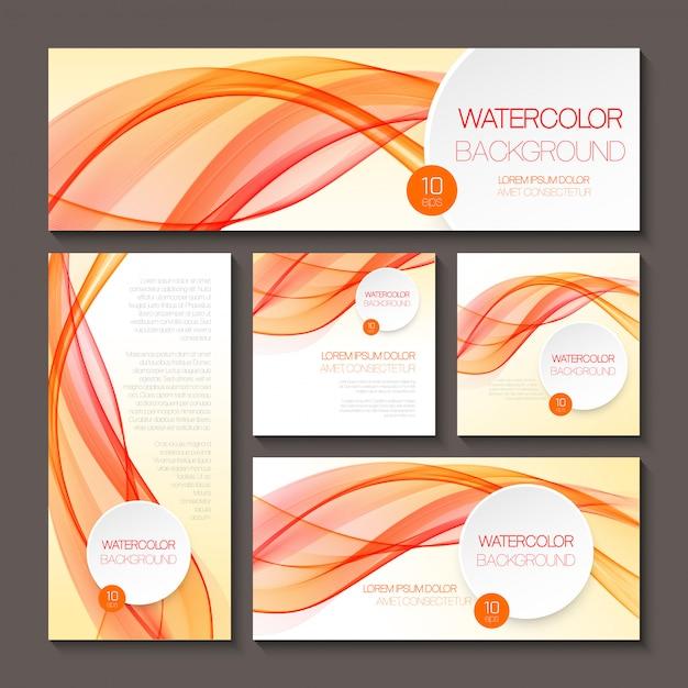 Ensemble de modèles pour l'impression ou la conception web Vecteur Premium