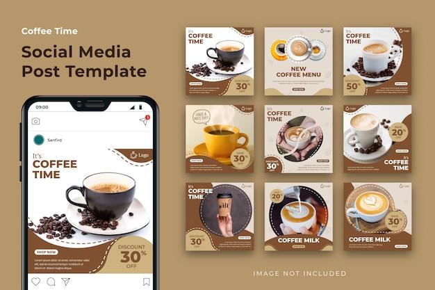 Ensemble De Modèles De Publication De Médias Sociaux De Café Vecteur Premium