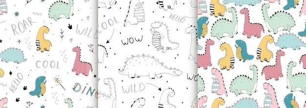 Ensemble De Modèles Sans Couture Avec Des Dinosaures Linéaires Mignons, Lettrage Vecteur Premium