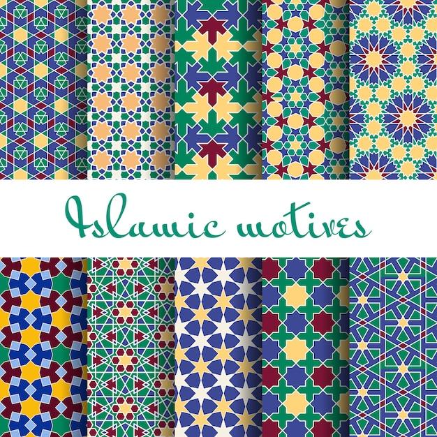 Ensemble De Modèles Sans Couture De Printemps Arabe. Papier Peint Design, Ornement Rétro. Vecteur gratuit