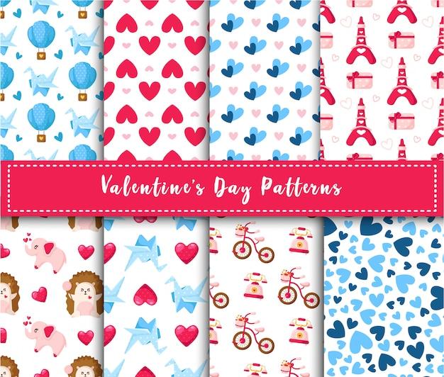 Ensemble De Modèles Sans Couture De La Saint-valentin - Hérisson Kawaii Dessin Animé, éléphant, Grue En Papier, Ballon Vecteur Premium
