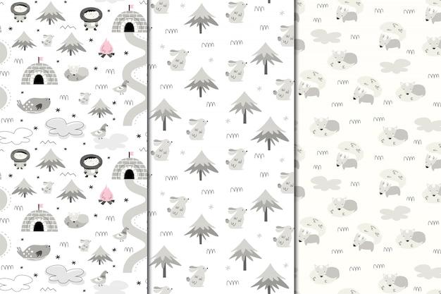 Ensemble de modèles sans soudure de l'alaska. nature et animaux, esquimaux. style scandi Vecteur Premium