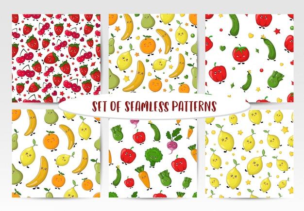 Ensemble de modèles sans soudure avec des légumes kawaii, des fruits et des baies Vecteur Premium