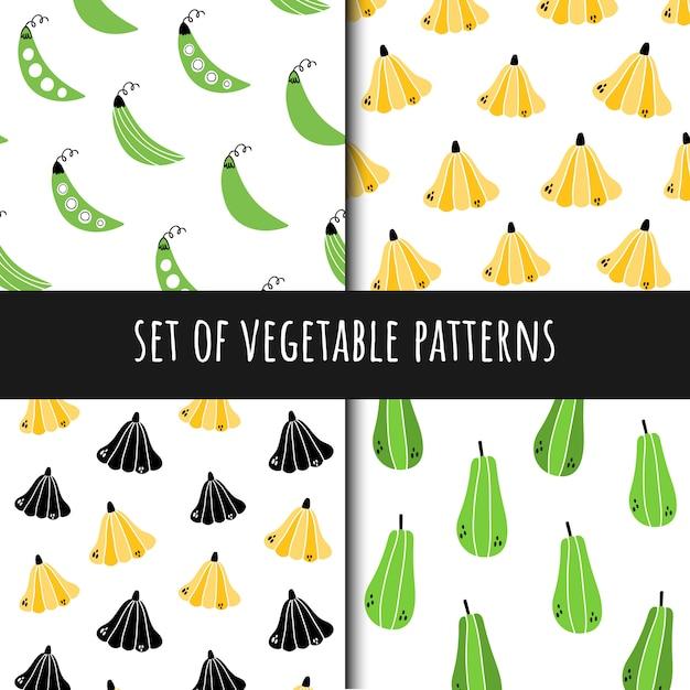 Ensemble de modèles sans soudure de légumes Vecteur Premium