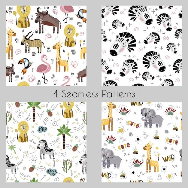 Ensemble - modèles sans soudure de vecteur avec dessin animé animaux africains, plantes, oiseaux Vecteur Premium