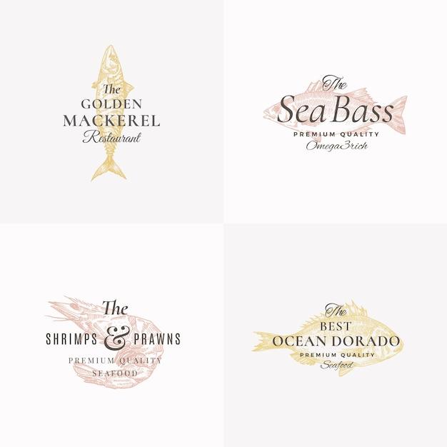 Ensemble De Modèles De Signes, Symboles Ou Logos Abstraits De Poissons Et Fruits De Mer De Qualité Supérieure. Isolé Vecteur Premium