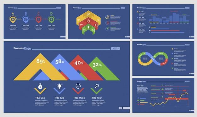 Ensemble de modèles de six analyses de diapositives Vecteur gratuit