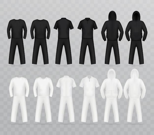 Ensemble de modèles de t-shirt, devant. Vecteur Premium