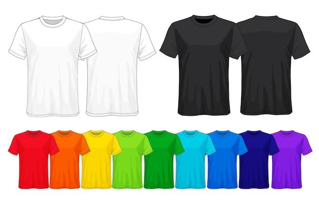 Ensemble de modèles de t-shirts de couleur. Vecteur Premium