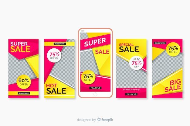 Ensemble de modèles de vente d'instagram Vecteur gratuit