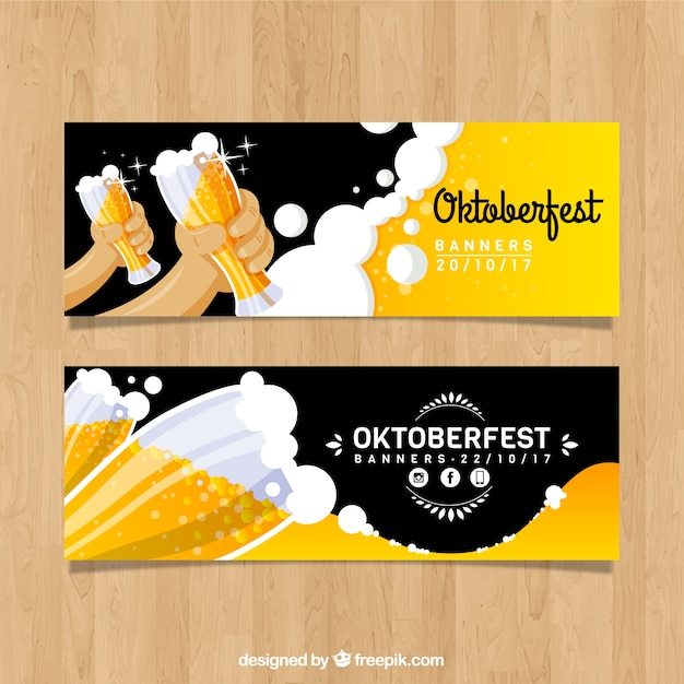 Ensemble Moderne De Bannières Les Plus Oktoberfest Avec De La Bière Vecteur gratuit