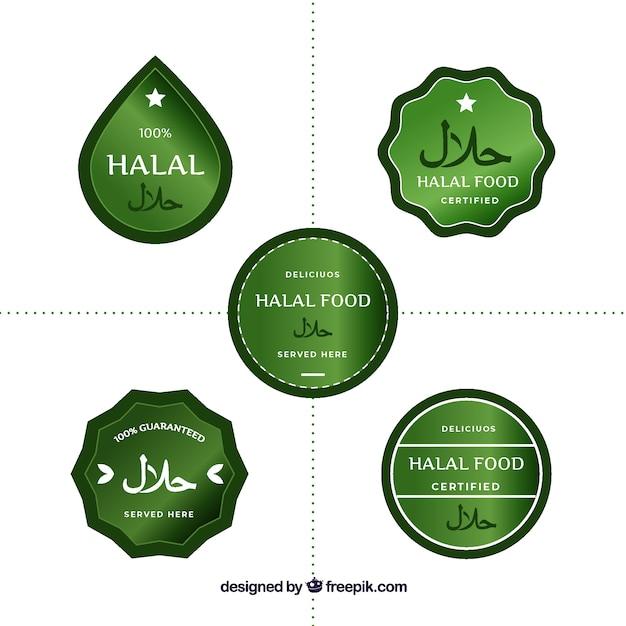 Ensemble moderne d'étiquettes d'aliments halal avec un design plat Vecteur gratuit