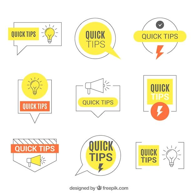Ensemble moderne d'étiquettes de conseils avec un design plat Vecteur gratuit