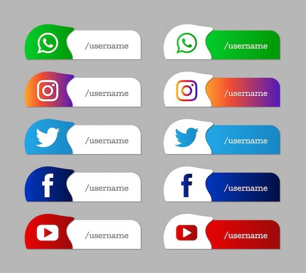 Ensemble Moderne D'icônes Du Tiers Inférieur Des Médias Sociaux Vecteur gratuit