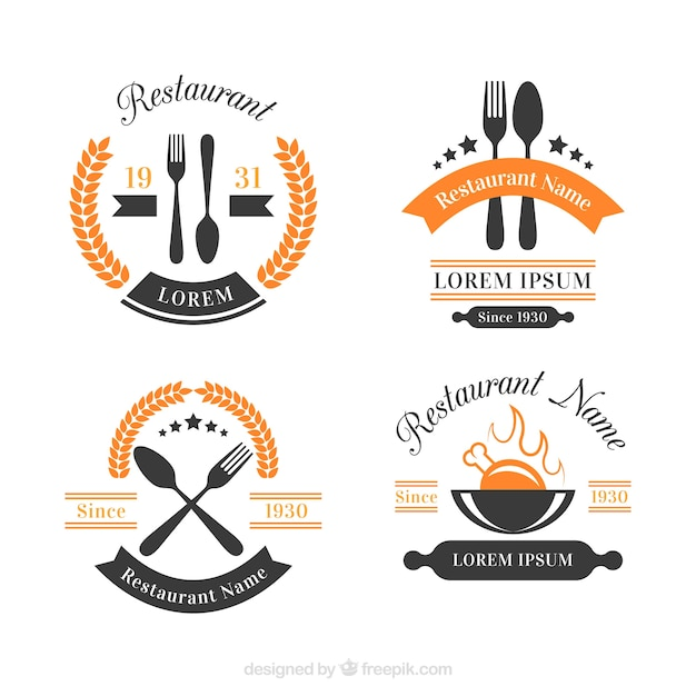 Ensemble Moderne De Logo De Restaurant Avec Style Vintage Vecteur Premium