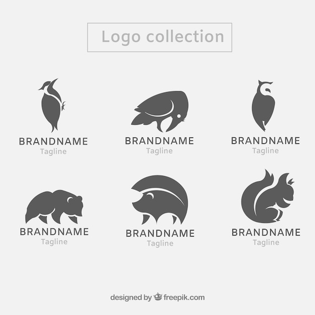 Ensemble Moderne De Logos D'animaux Vecteur Premium