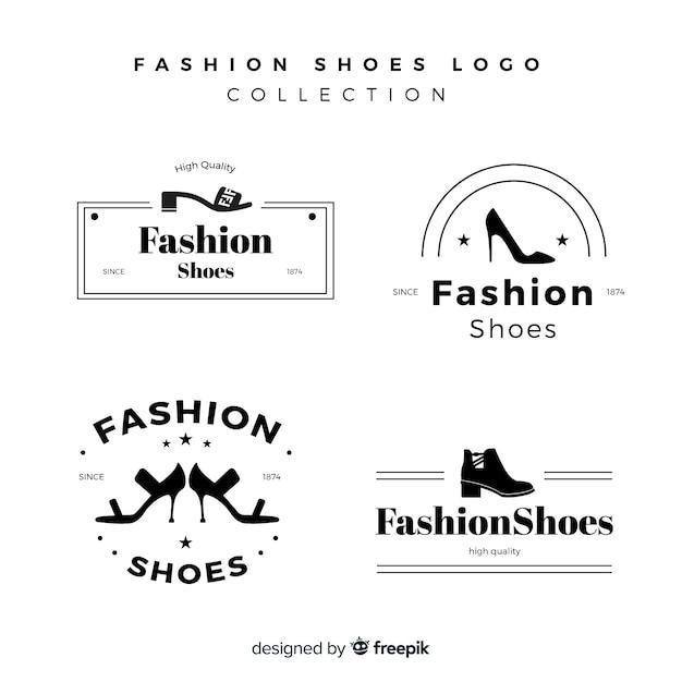 Ensemble moderne de logos de chaussures colorées Vecteur gratuit
