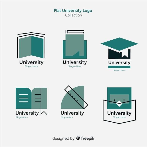 Ensemble moderne de logos universitaires avec design plat Vecteur gratuit