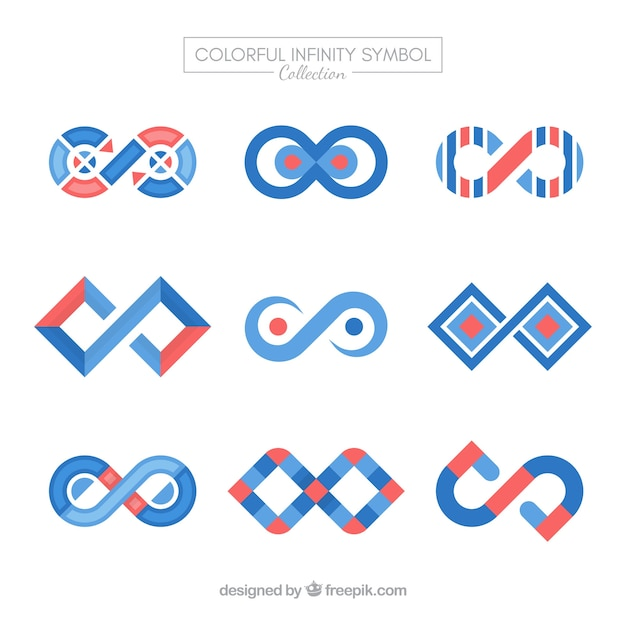 Ensemble moderne de symboles de l'infini coloré Vecteur gratuit