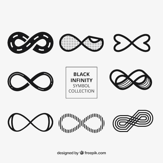 Ensemble moderne de symboles de l'infini en couleur noire Vecteur gratuit
