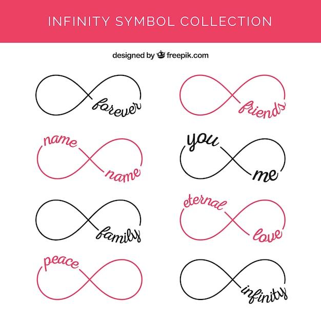 Ensemble moderne de symboles de l'infini avec des mots Vecteur gratuit