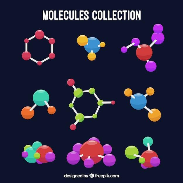 Ensemble de molécules colorées Vecteur gratuit
