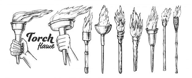 Ensemble Monochrome De La Collection Burning Torch Vecteur Premium