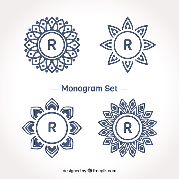 Ensemble de monogrammes avec lettre