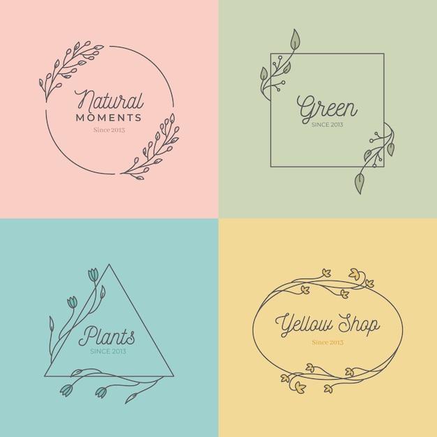 Ensemble de monogrammes de mariage dans des couleurs pastel Vecteur gratuit