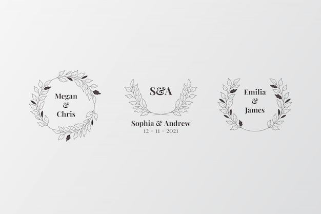 Ensemble De Monogrammes De Mariage élégants, Créateur De Logo Initial Vecteur Premium