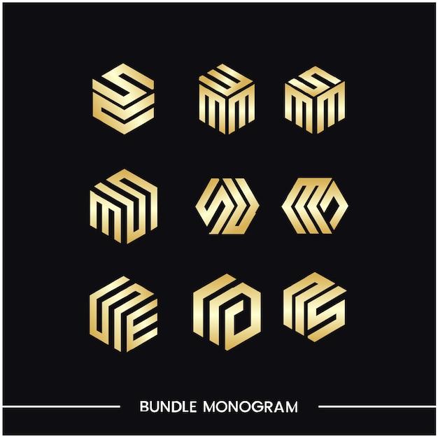 Ensemble De Monogrammes De Modèles De Conception De Logo Vecteur Premium