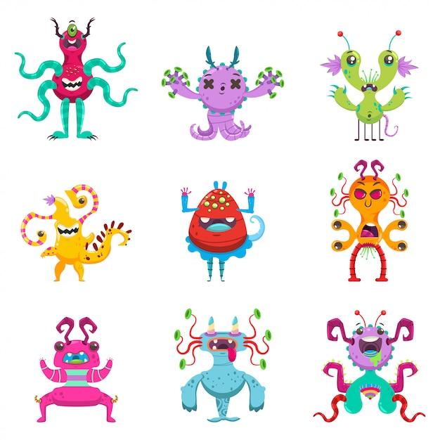 Ensemble de monstres de dessin animé mignon. caractère plat de vecteur de drôles de créatures isolées Vecteur Premium