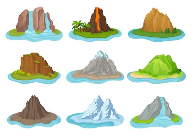 Ensemble De Montagnes Et De Cascades. Petites îles Entourées D'eau. Paysage Naturel Vecteur Premium