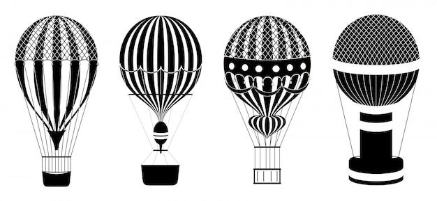 Ensemble De Montgolfières Ou D'aérostats. Illustration Du Transport Aérien De Voyage. Montgolfières Classiques. Icônes En Noir Et Blanc. Vecteur Premium