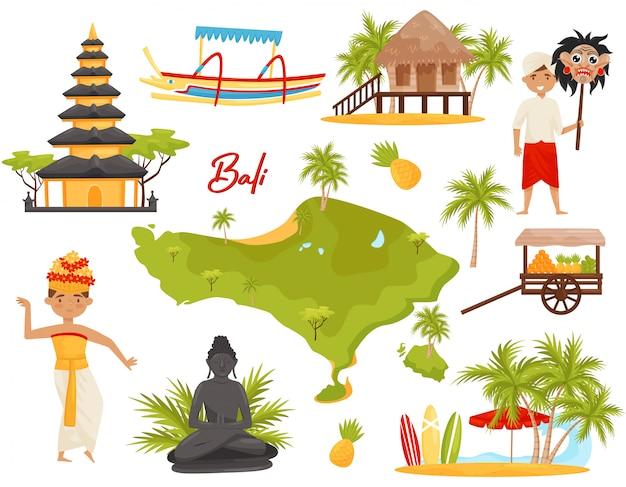 Ensemble De Monuments Et D'objets Culturels Balinais. Personnes, Monuments Historiques, Carte De L'île De Bali Vecteur Premium