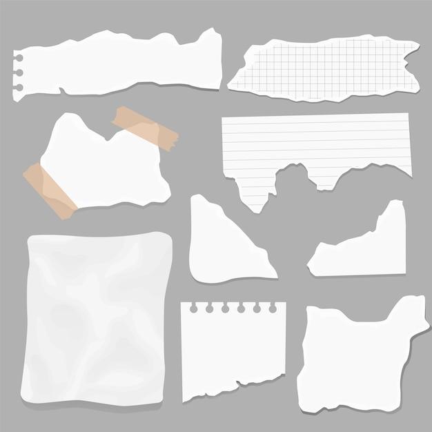 Ensemble De Morceaux De Papier De Différentes Formes. Papiers Déchirés, Morceaux De Page Déchirés Et Morceau De Papier De Note D'album Vecteur Premium
