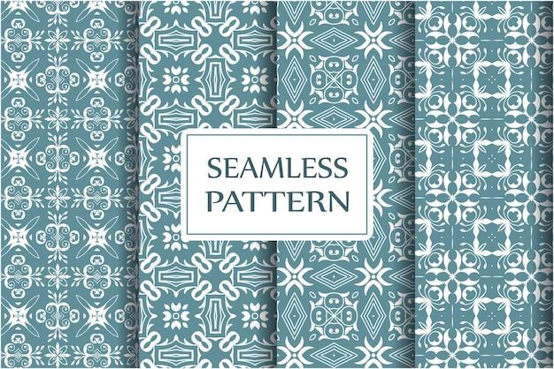 Ensemble De Motif Décoratif Sans Couture Pour Papiers Peints, Textile, Emballage. Modèle Baroque Floral Exquis Vecteur Premium