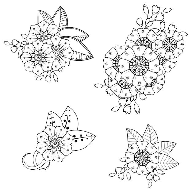 Ensemble De Motif De Fleurs Mehndi Pour Le Dessin Au Henné. Décoration Dans Un Style Indien Oriental Ethnique. Vecteur Premium