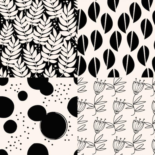 Ensemble de motifs abstraits noirs. Vecteur Premium