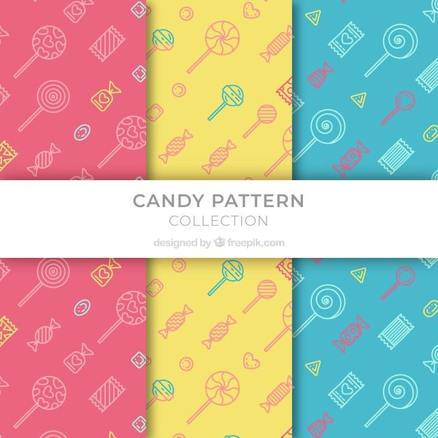 Ensemble de motifs colorés avec des bonbons Vecteur gratuit