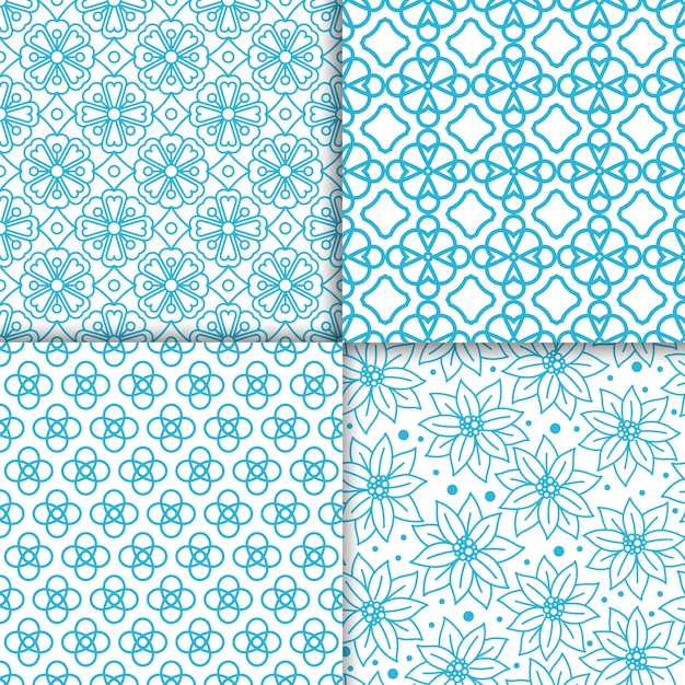 Ensemble de motifs de couleur bleu floral simple Vecteur Premium