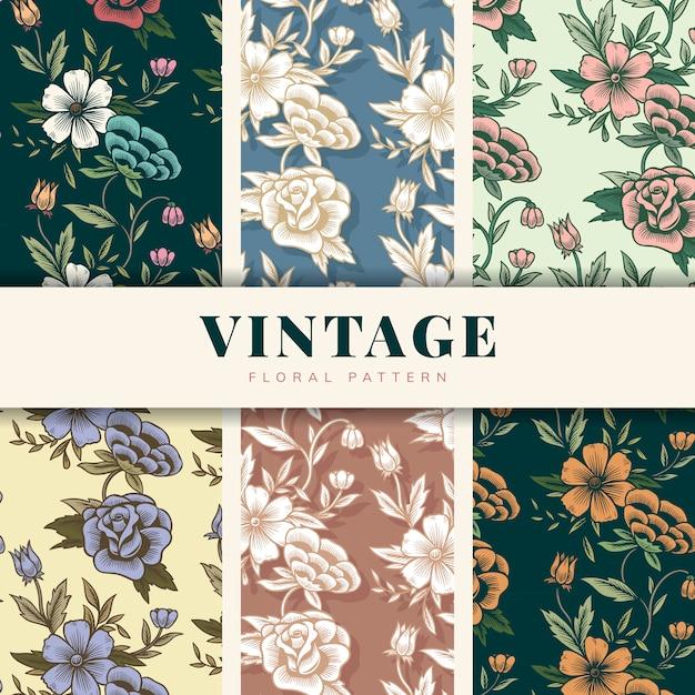 Ensemble de motifs floraux vintage Vecteur gratuit