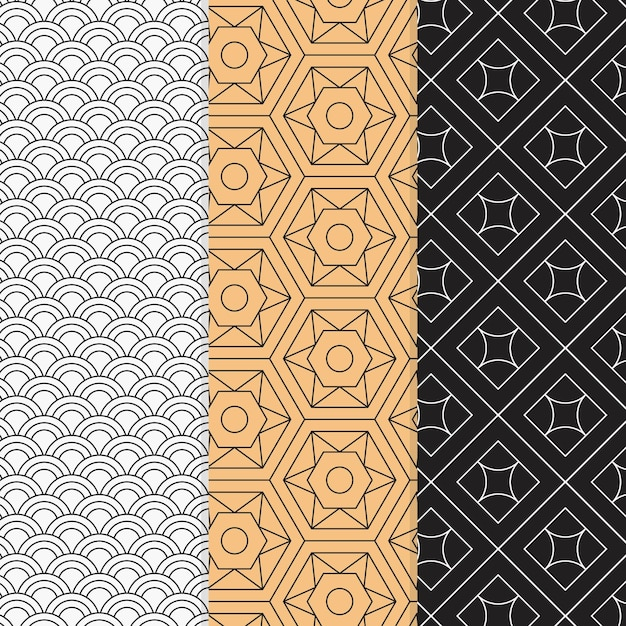 Ensemble De Motifs Géométriques Minimal Coloré Vecteur gratuit